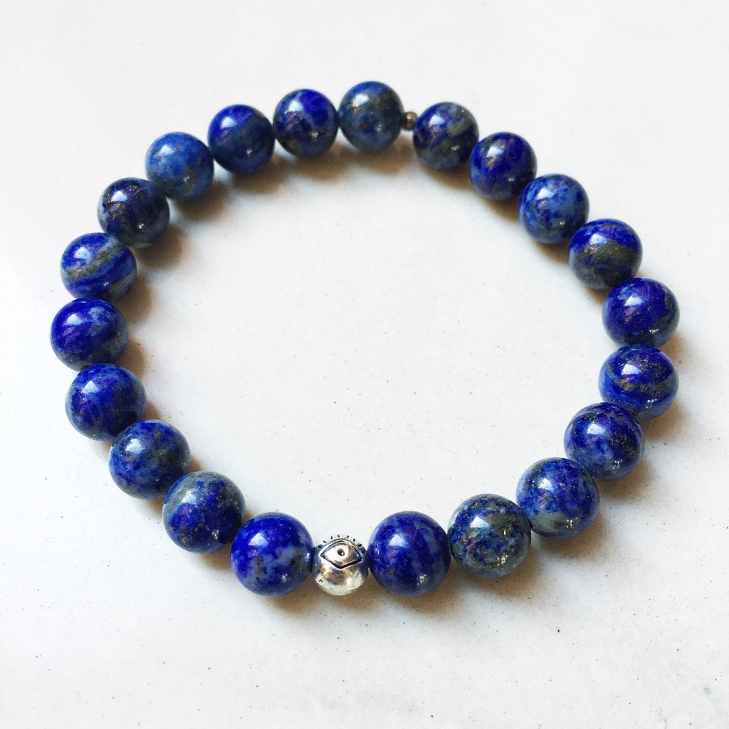 Hanuman Heart Custom Jewelry Lapis Lazuli Stacking Bracelet Mala Beads