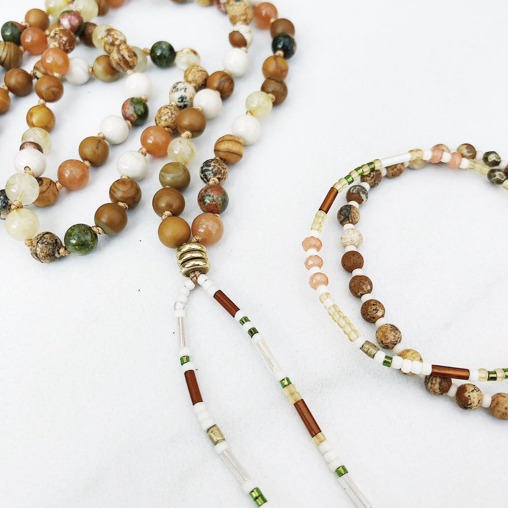 Hanuman Heart desert mala bead necklace earth tone jewelry beaded necklace neutral color palette