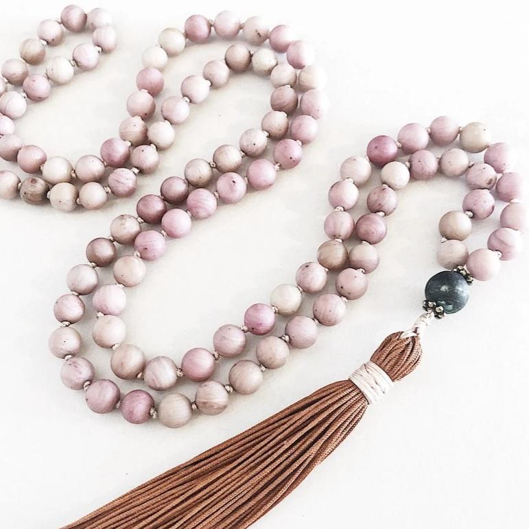 Hanuman Heart Custom Jewelry Rhodochrosite 108 Bead Mala Necklace