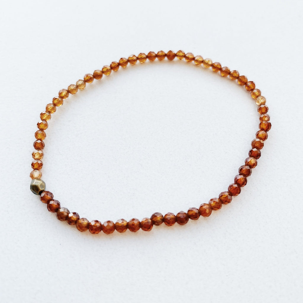 Hanuman Heart Beaded Bracelet January Birthstone Orange Garnet