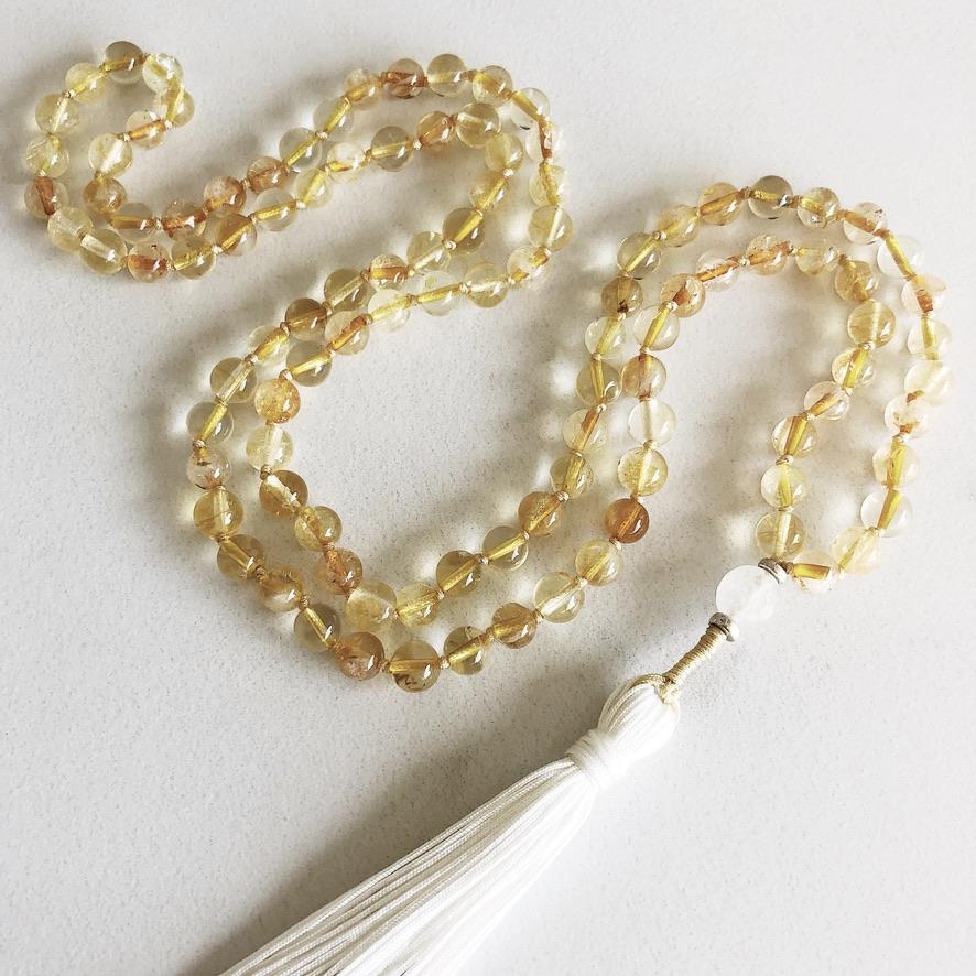 Hanuman Heart Custom Jewelry Citrine Mala Bead Necklace