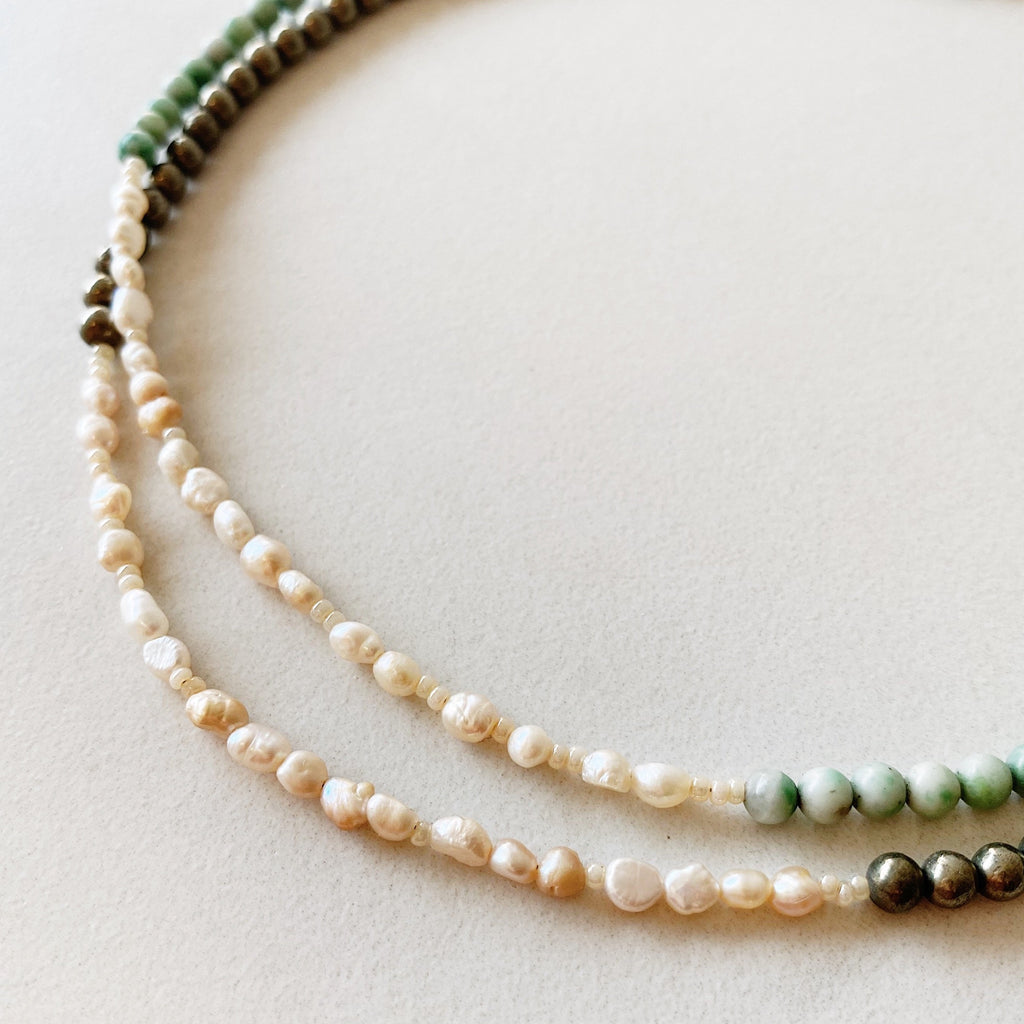 The Dots + Pearls Choker Necklace - Jade