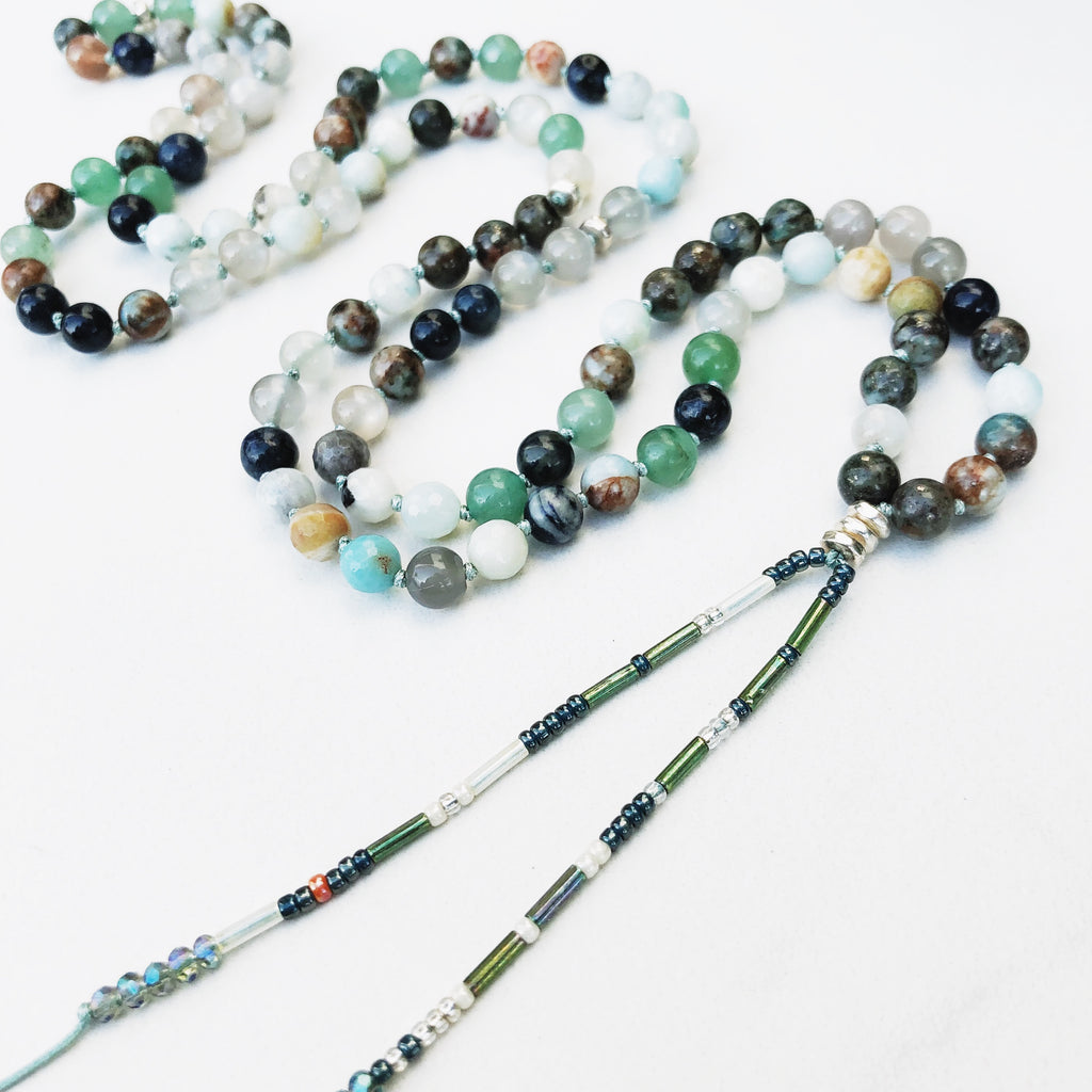 Hanuman Heart Ocean mala bead necklace mala jewelry beaded jewelry healing gemstones crystals meditation