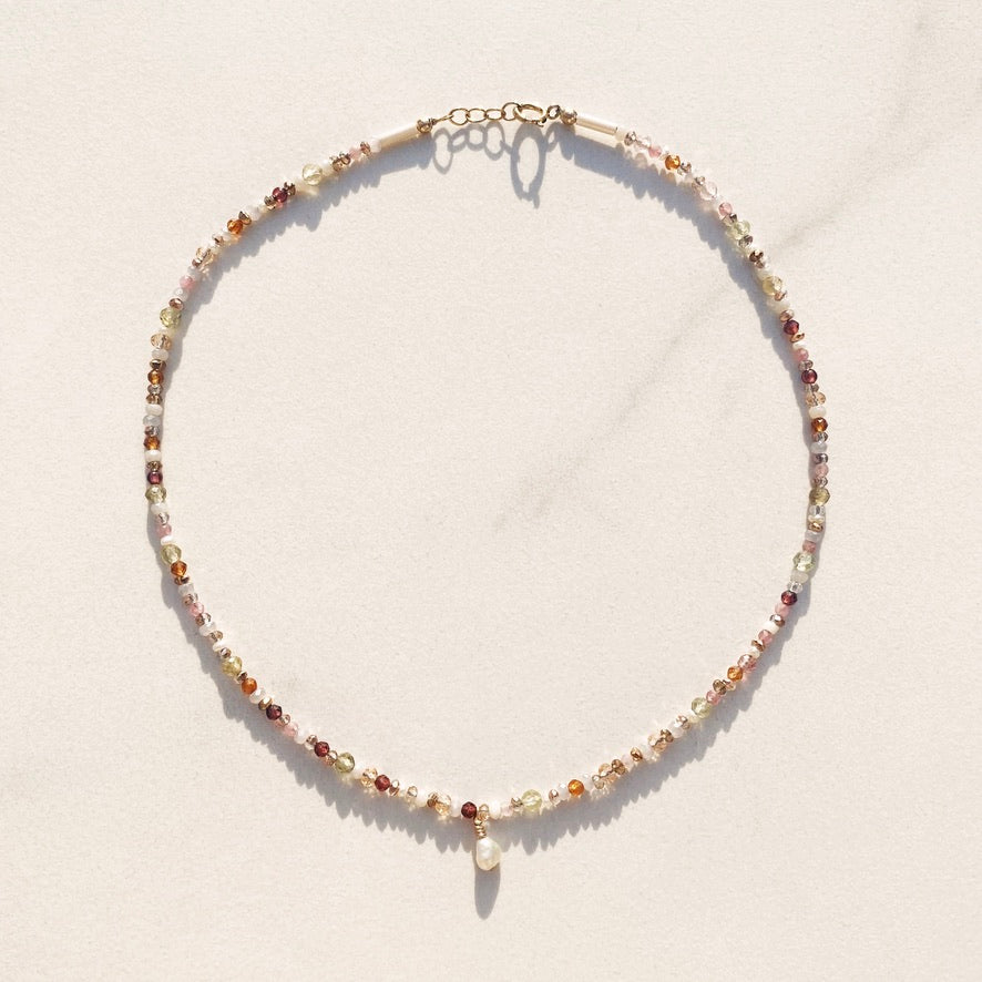 RAQIE Jewelry + Accessories Multicolor crystal beaded pearl choker necklace