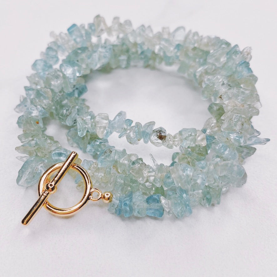 RAQIE Jewelry + Accessories Aquamarine Gemstone Necklace Choker Lariat Wrap Bracelet