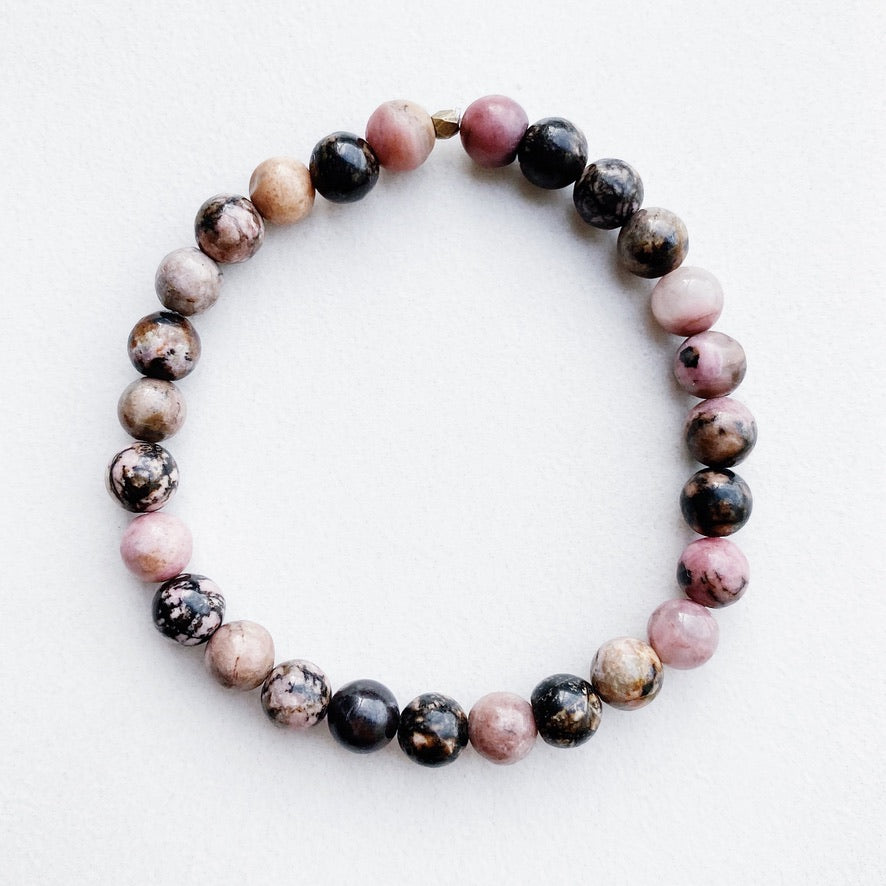 Hanuman Heart Custom Jewelry Rhodonite Stacking Bracelet
