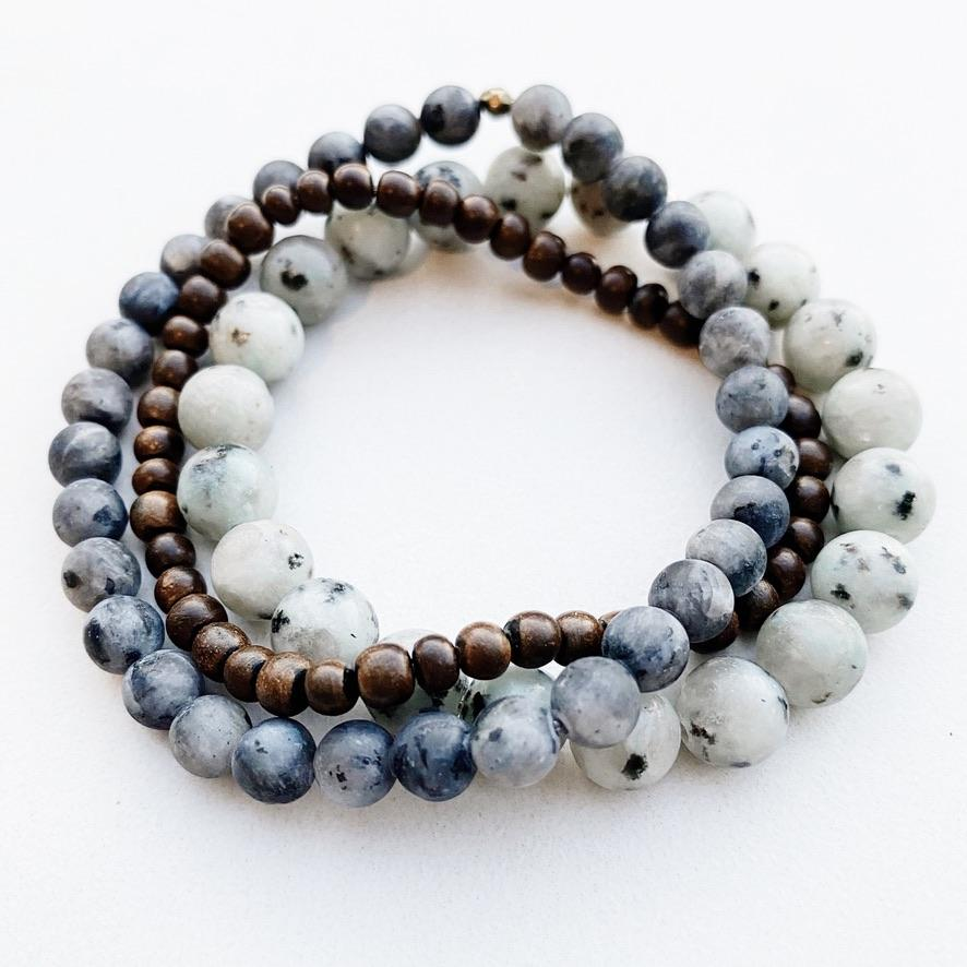 Hanuman Heart Custom Jewelry Larvikite Labradorite Stacking Beaded Bracelet