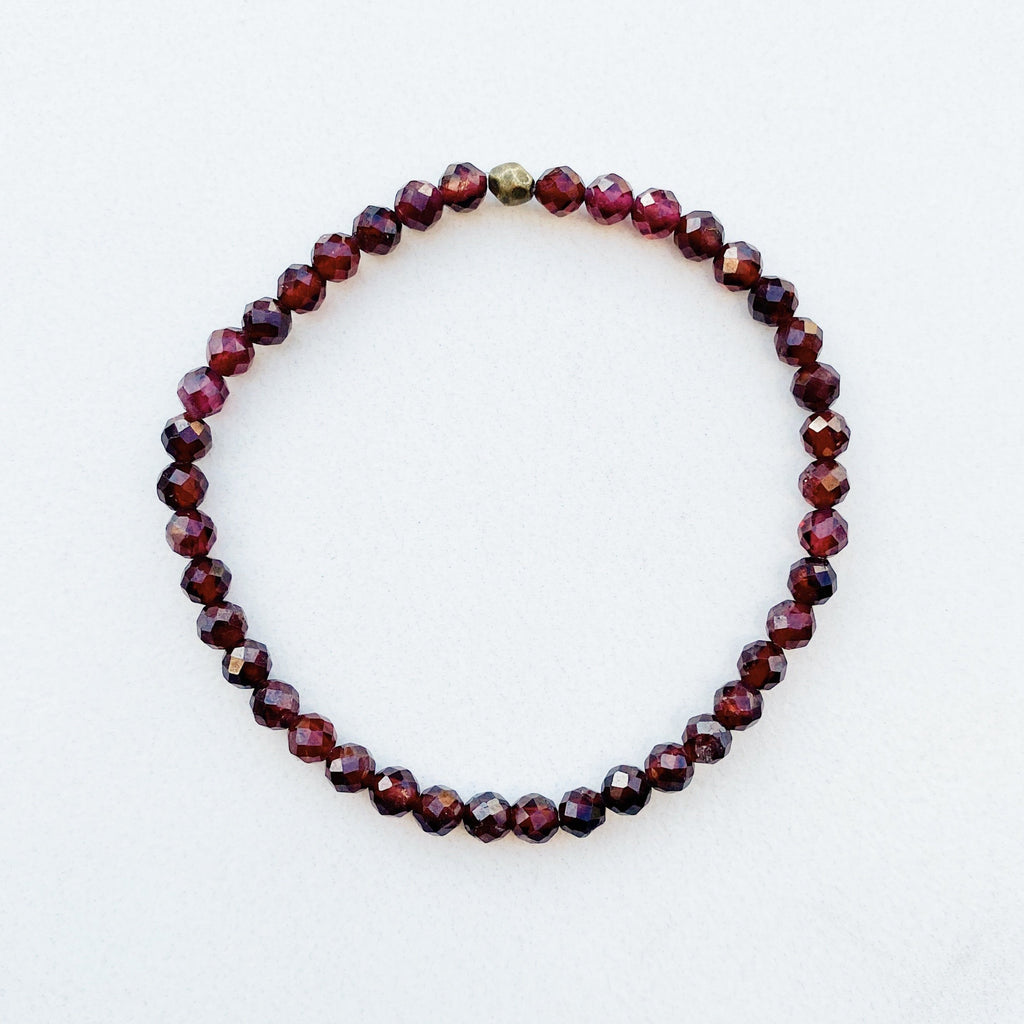 Hanuman Heart Beaded Bracelet January Birthstone Garnet