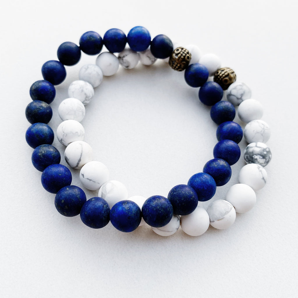 Hanuman Heart Custom Jewelry Lapis Lazuli Beaded Stacking Mala Bracelet