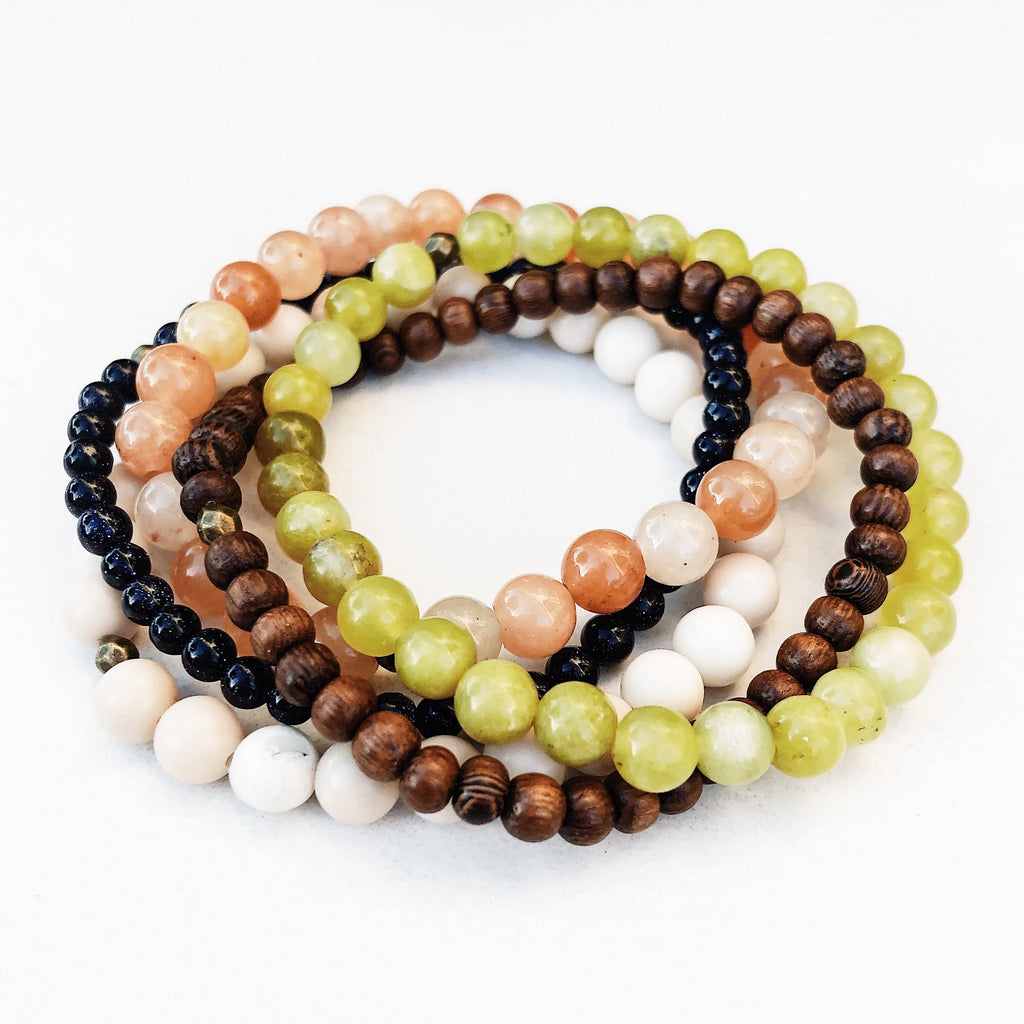 Hanuman Heart Custom Jewelry Bracelet Stack Peridot Aventurine Agate Wood Goldstone Beaded Jewelry