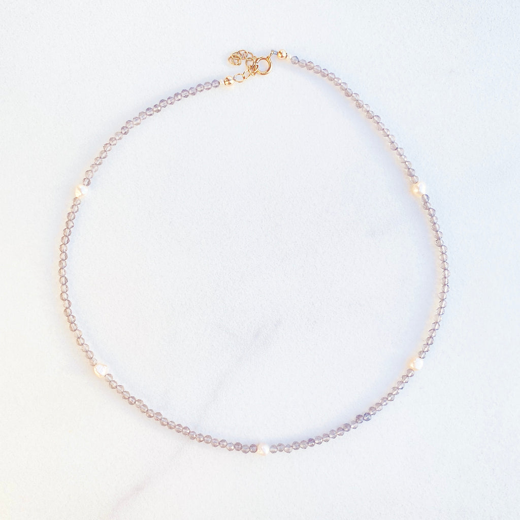 RAQIE Jewelry + Accessories Seed Bead and Smokey Quartz Crystal Beaded + Pearl Choker Necklace