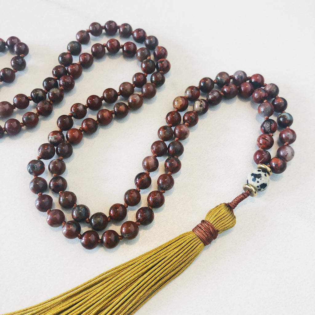 Hanuman Heart red jasper mala bead tassel necklace