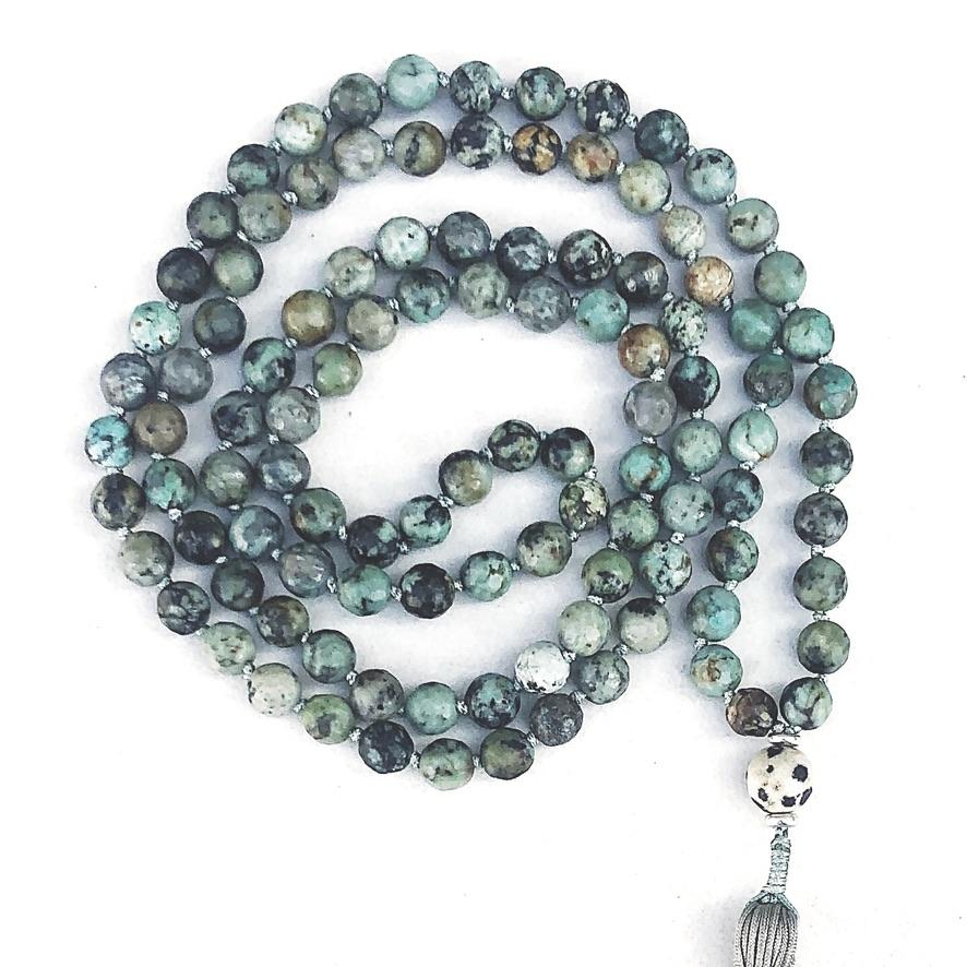 Hanuman Heart Custom Jewelry Turquoise 108 Bead Mala Necklace