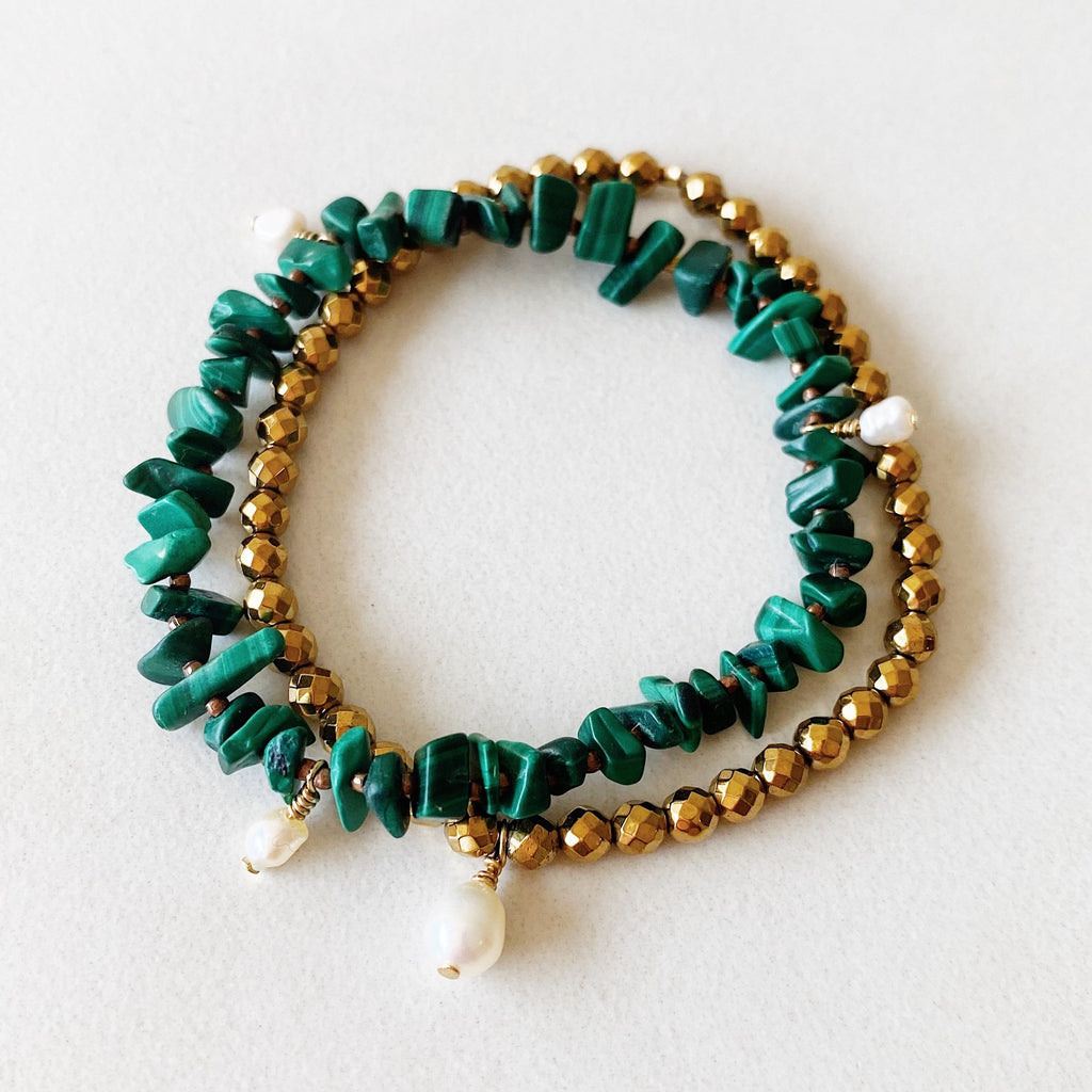 Hanuman Heart Custom Jewelry Malachite Freshwater Pearl Stacking Bracelet