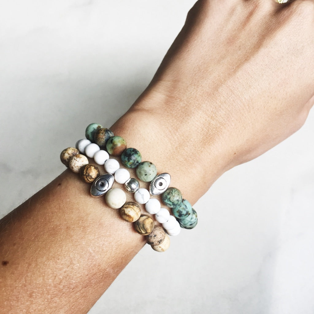 RAQIE Jewelry + Accessories Picture Jasper Bead Stacking Bracelets