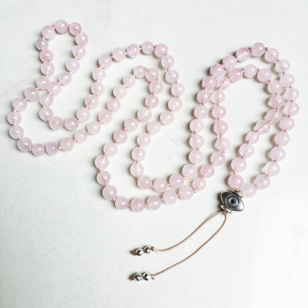 Hanuman Heart rose quartz mala beads