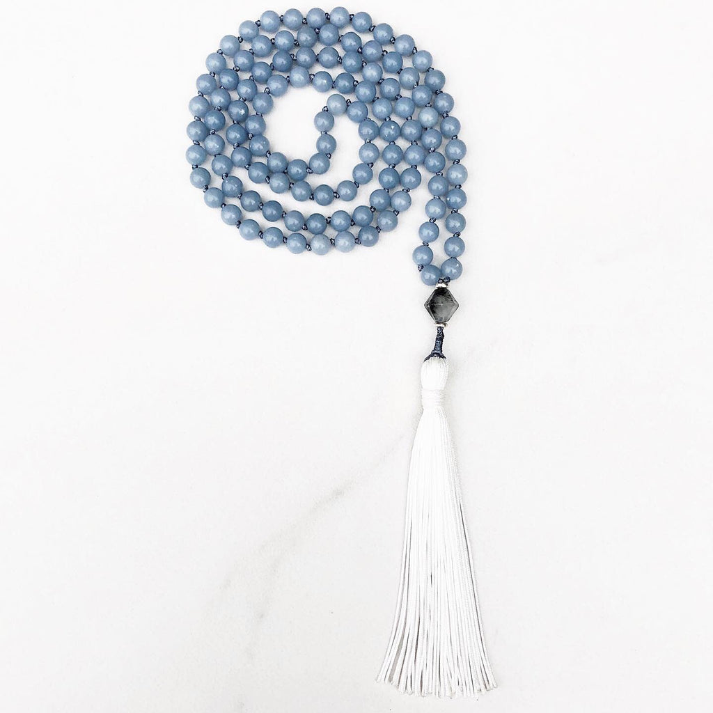 Hanuman Heart angelite mala bead necklace