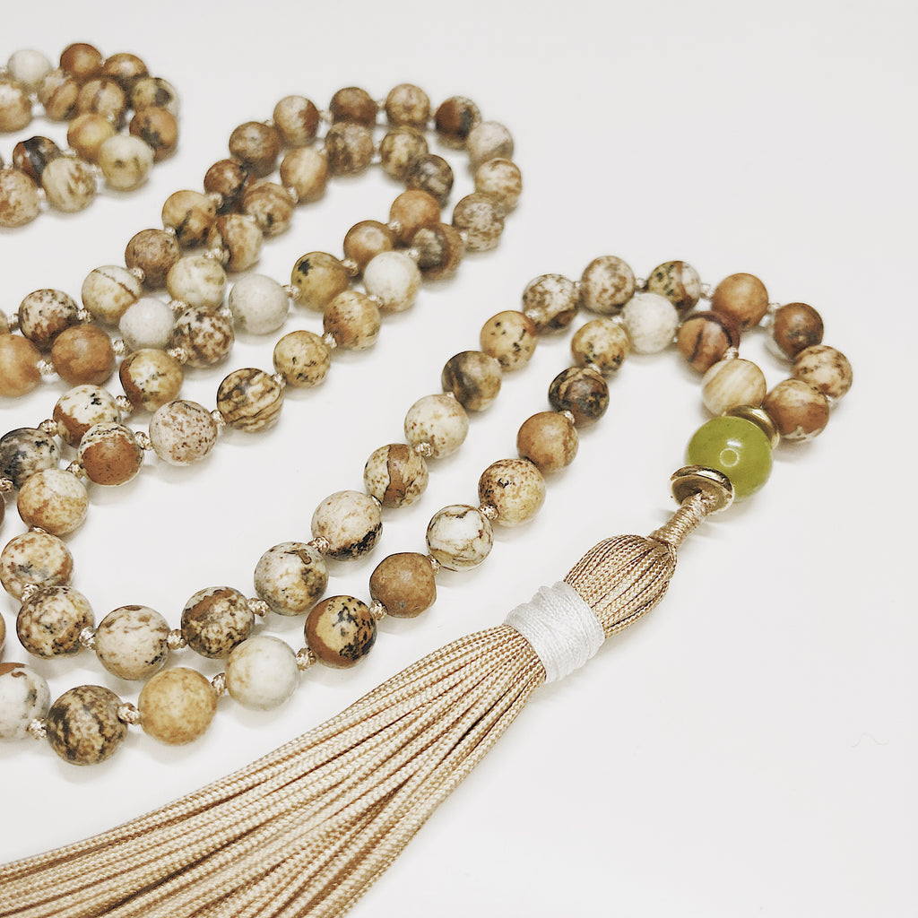 Hanuman Heart picture jasper mala bead tassel necklace