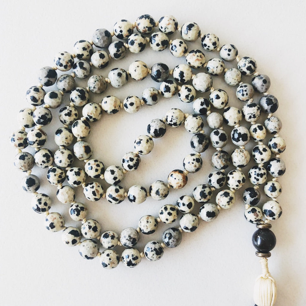 Hanuman Heart Custom Jewelry Dalmatian Stone Mala Bead Necklace