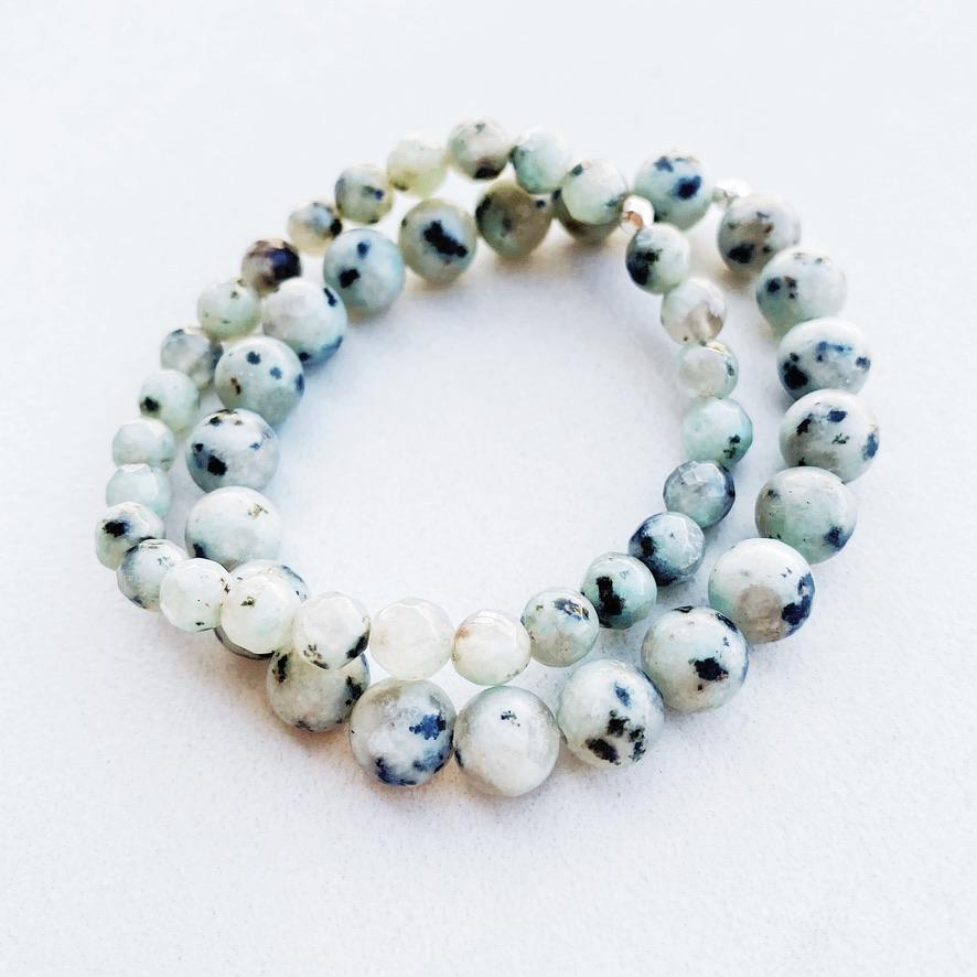 Hanuman Heart green sesame jasper stacking bracelet