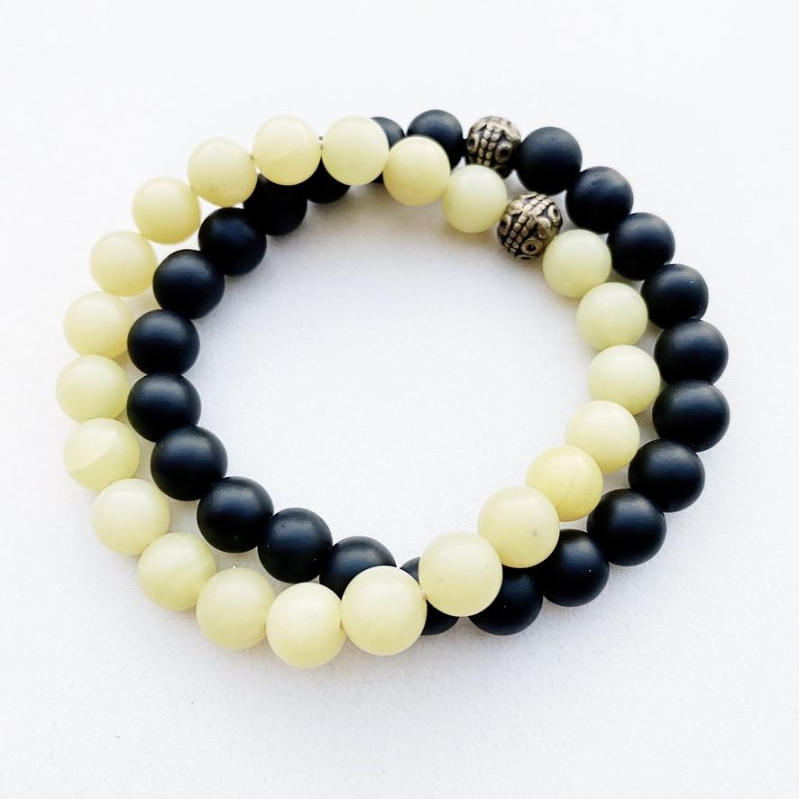 Hanuman heart Custom Jewelry Onyx Mala Bead Stacking Bracelet