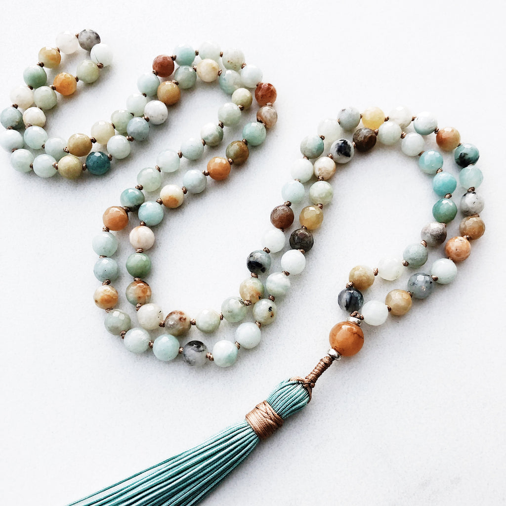 Hanuman Heart amazonite mala bead necklace 108