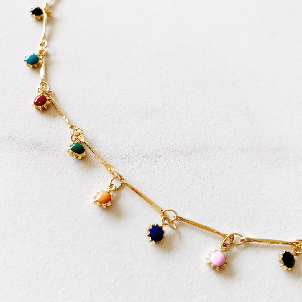 RAQIE Jewlery + Accessories 14K gold fill chain and enamel choker necklace
