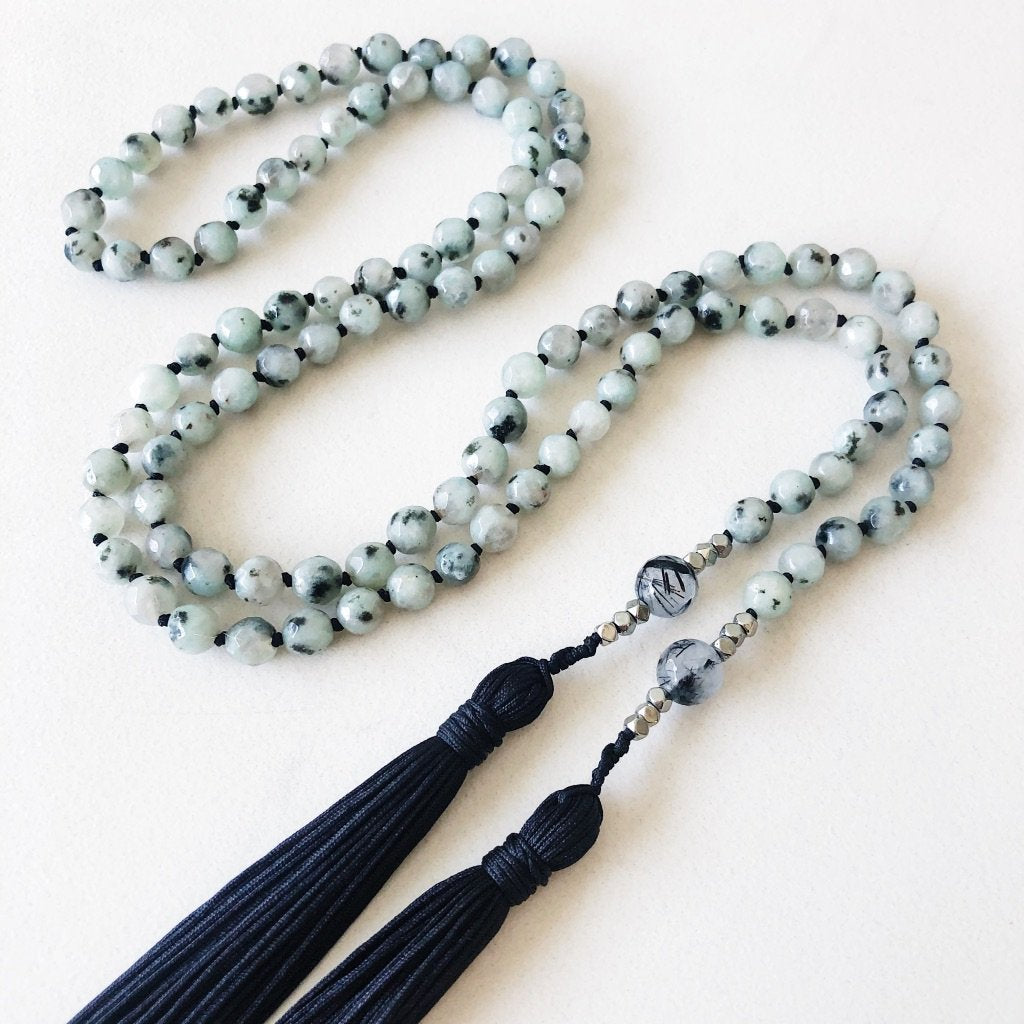Hanuman Heart custom handmade jewelry jasper mala bead lariat necklace