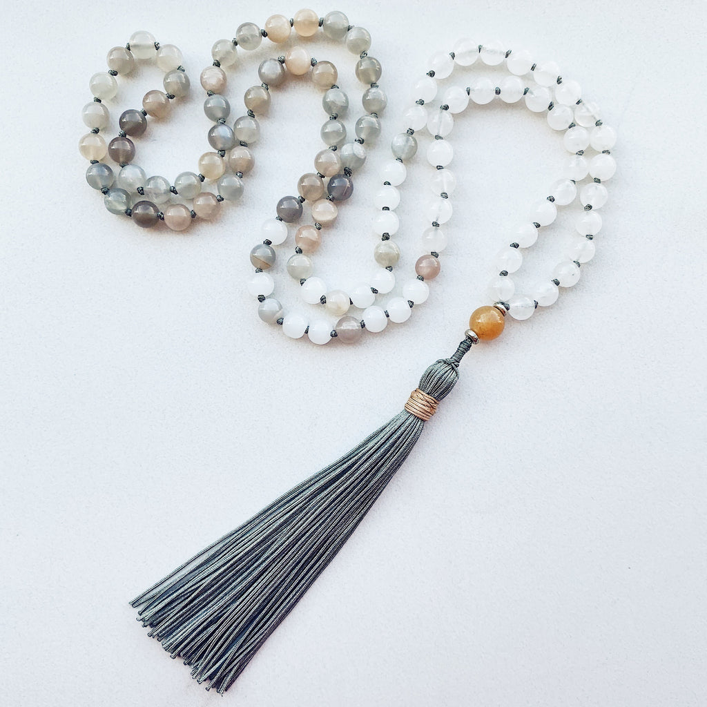 Hanuman Heart moonstone snow quartz mala bead necklace