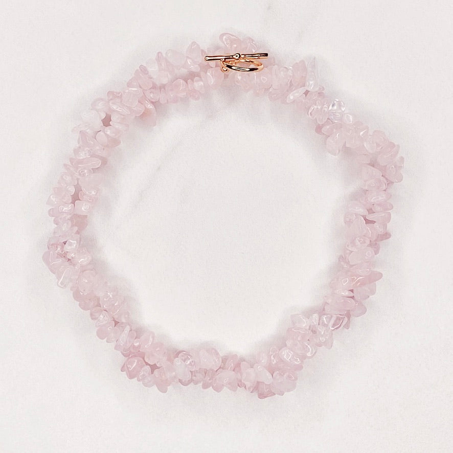 RAQIE Jewelry + Accessories Rose Quartz Gemstone Necklace Choker Lariat Wrap Bracelet