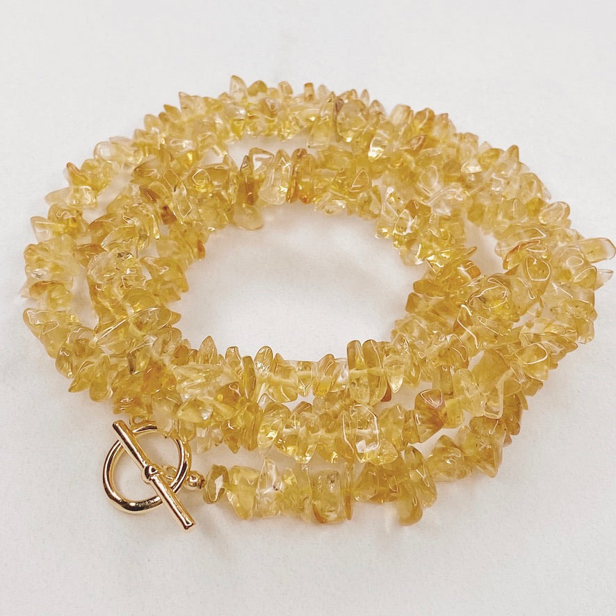 RAQIE Jewelry + Accessories Citrine Gemstone Necklace Choker Lariat Wrap Bracelet