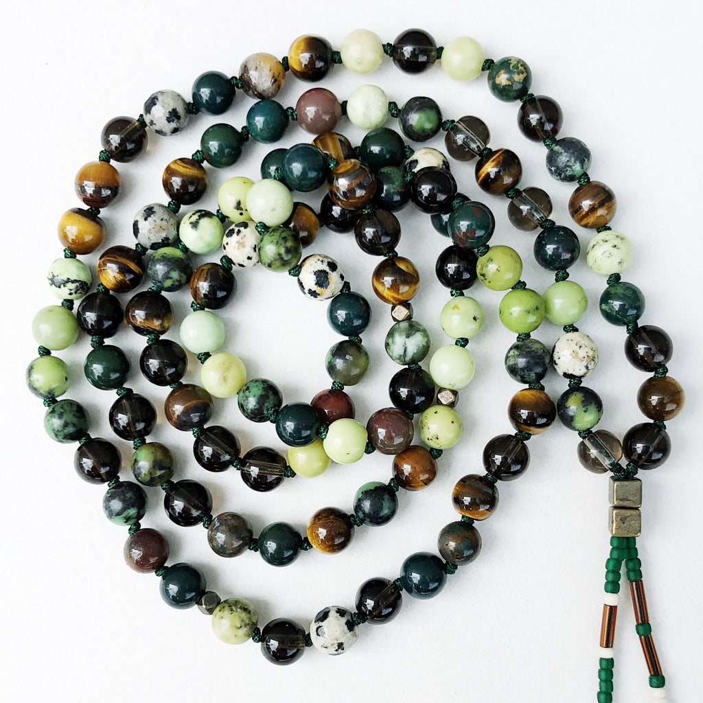 Hanuman Heart Forest Mala Bead Necklace beaded jewelry 108 meditation gemstones