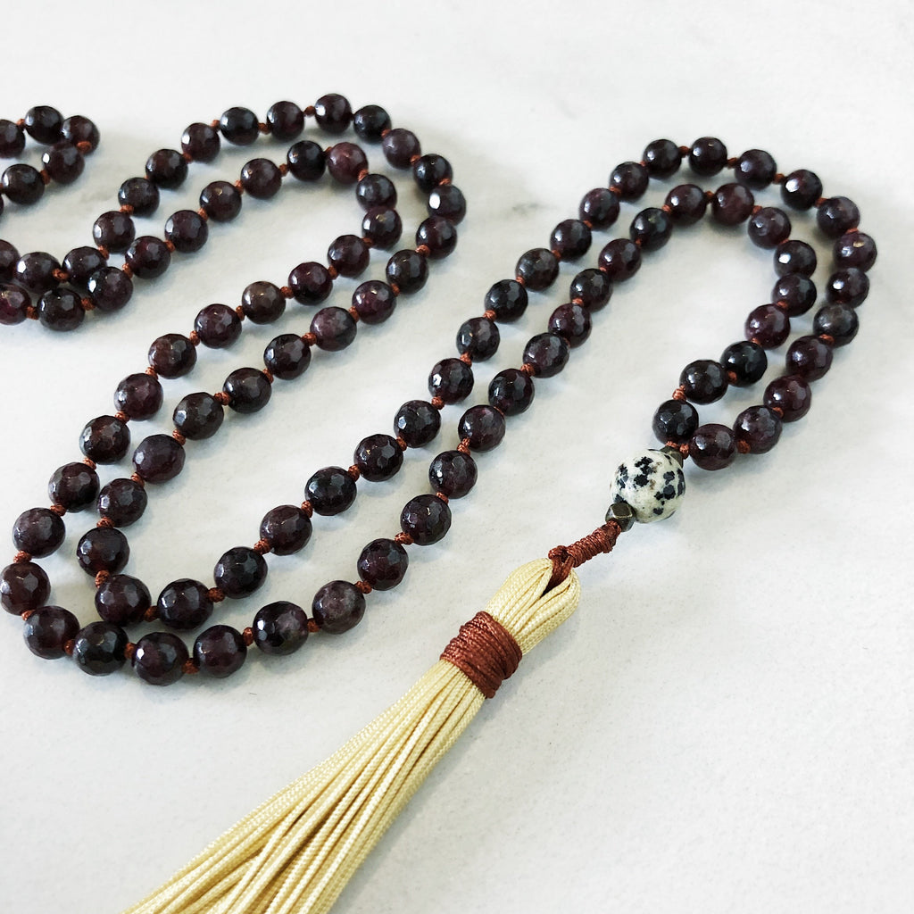 Hanuman Heart garnet mala bead tassel necklace
