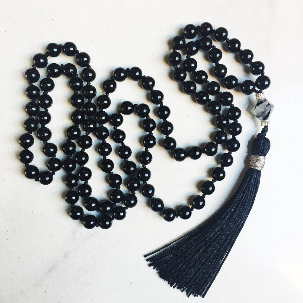 Hanuman Heart Mala Jewelry Black Tourmaline Mala Bead Necklace 108