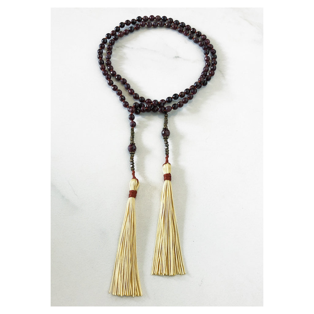 Garnet Lariat Mala Necklace
