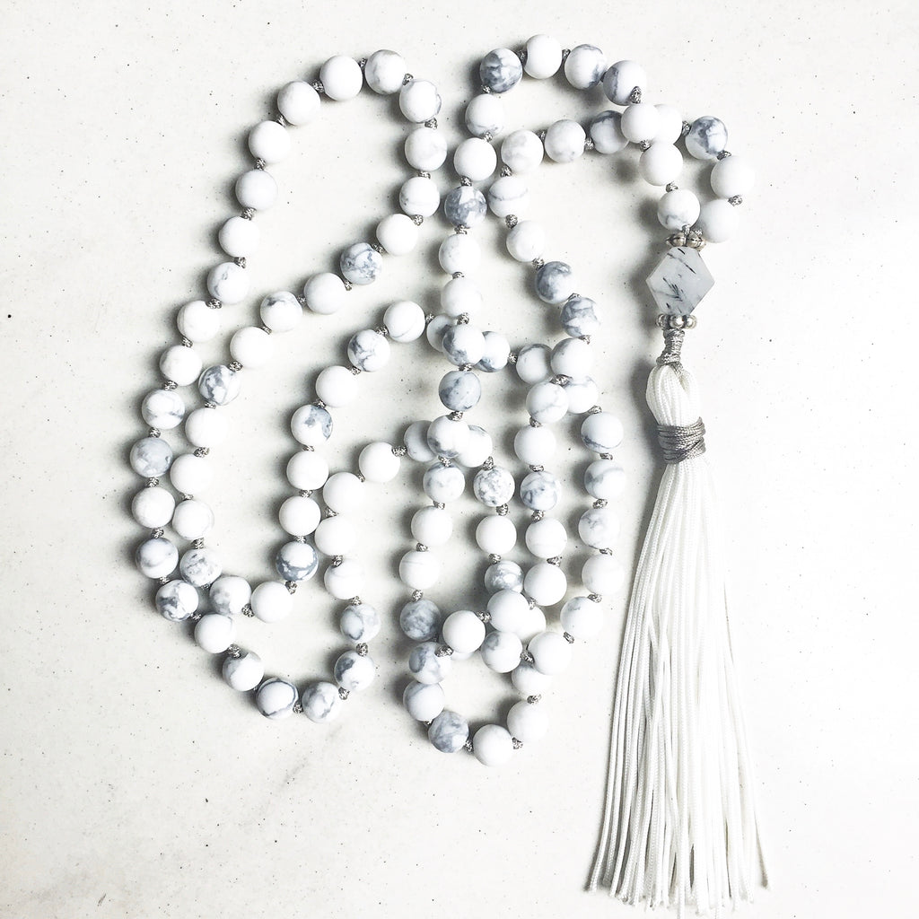 Hanuman Heart howlite mala bead necklace