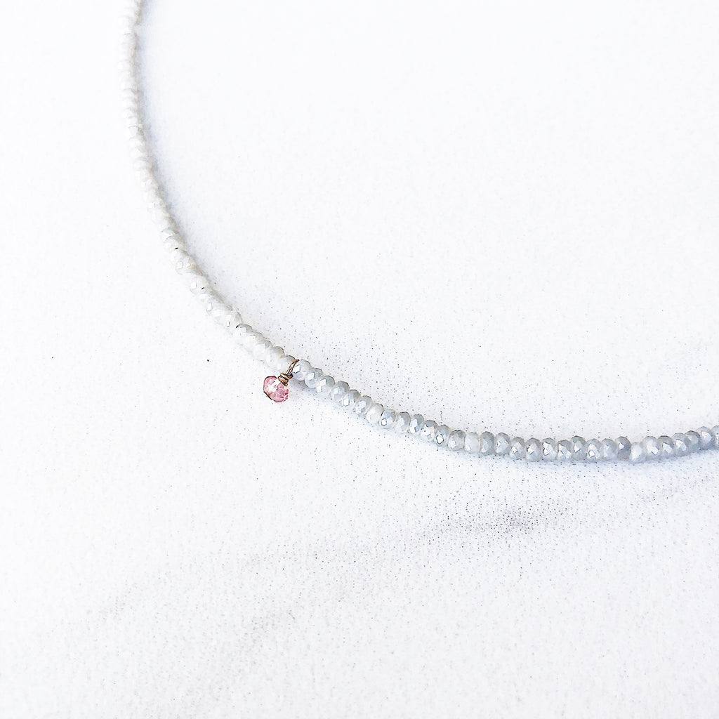 Hanuman Heart Farrah Choker in Dove crystal choker necklace