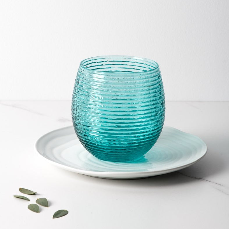 Set 6 vasos Reeded Turquoise