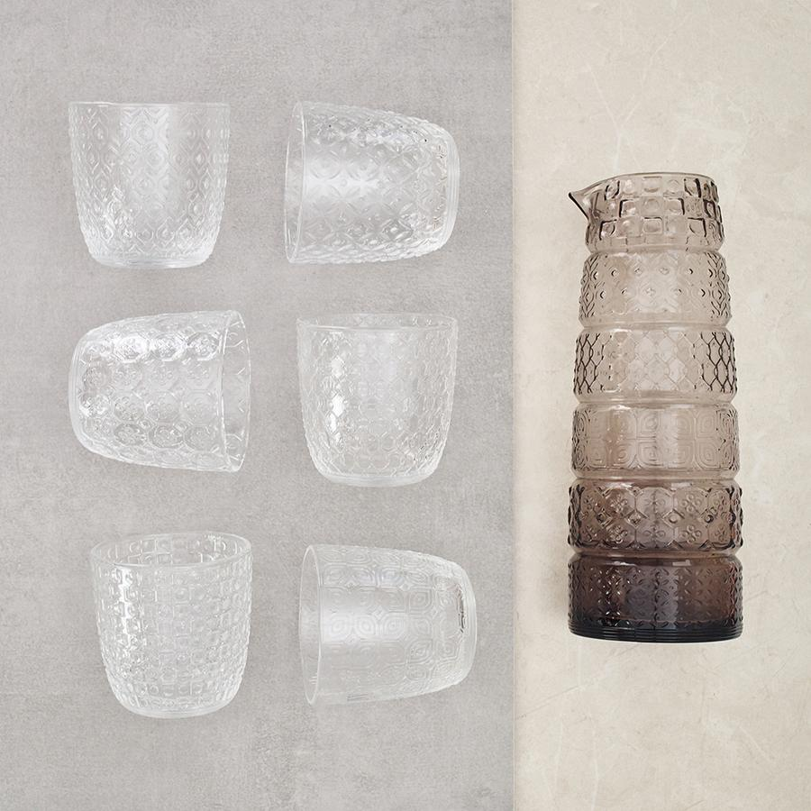 Set 6 vasos + jarra Textures Smoke Grey