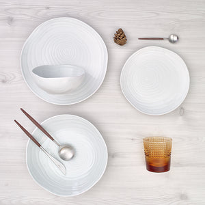 Plato hondo/pasta Teak White Collection