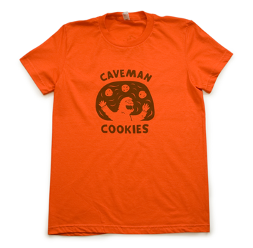 Caveman Cookie T-Shirt - Orange