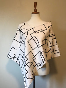 Modern White Bogolan Mud Cloth Poncho