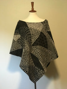 Bogolan Mud Cloth Poncho Grey