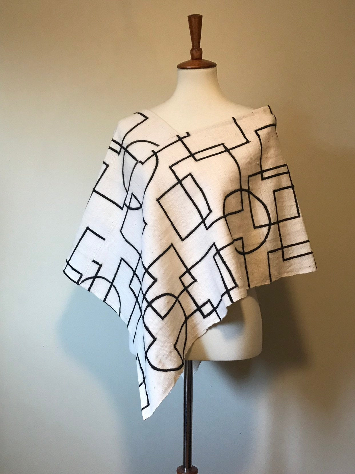 White Bogolan Mud Cloth Poncho Modern