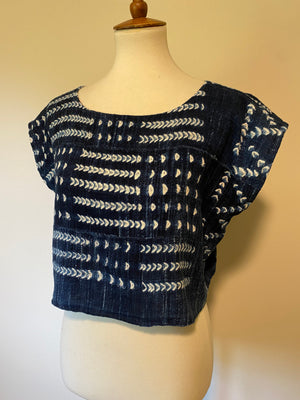 Dogon Indigo top, Indigo Crop top, Distressed Indigo