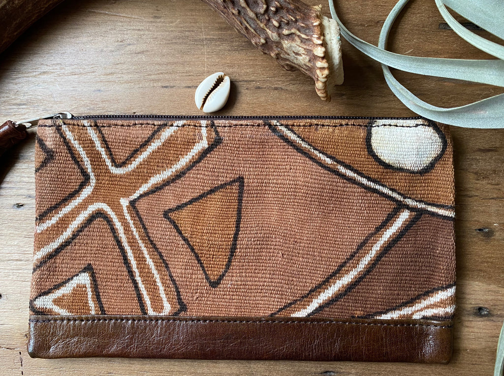 Mudcloth Clutch, Mudcloth bag, Leather Clutch, Leather Pouch with Zipper