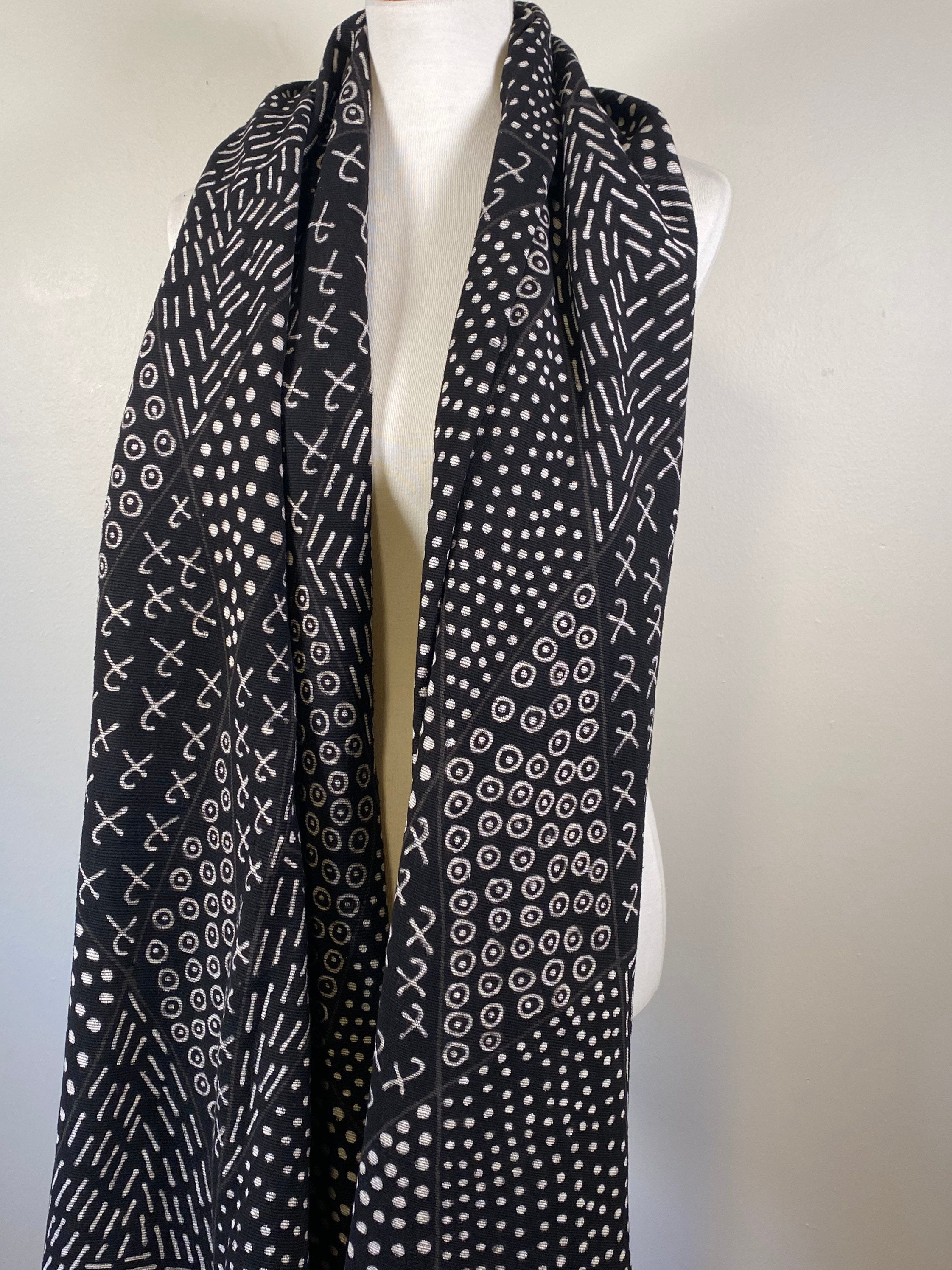 Mudcloth Heavyweight Scarf, Hand-painted Shawl,  Mudcloth Wrap, African Mudcloth