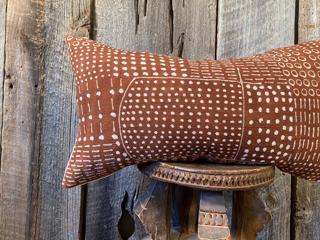 Mudcloth Lumbar Pillow, Mudcloth Pillow Cover, White Mudcloth