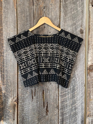 SALE! Mudcloth Crop Top, Bogolan Mudcloth Top