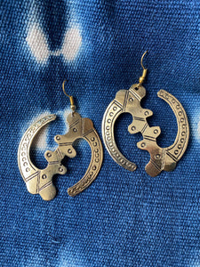 Brass Gye Nyame Earrings, Adinkra Jewelry